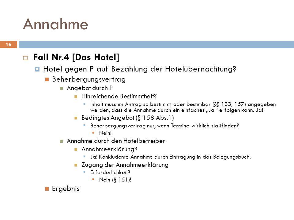 Annahme Fall Nr.4 [Das Hotel]